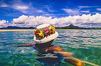 Swimming near a sandbar (deserted island called Vatu Moquila) near Nukubati Island Resort, Fiji Islands