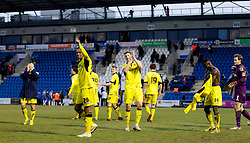 COLCHESTER, ENGLAND - Saturday, February 23, 2013: Tranmere Rovers' Jean-Louis Akpa Akpro and Ash Taylor celebrate their side's 5-1 win over Colchester United after the Football League One match at the Colchester Community Stadium. (Pic by Vegard Grott/Propaganda)