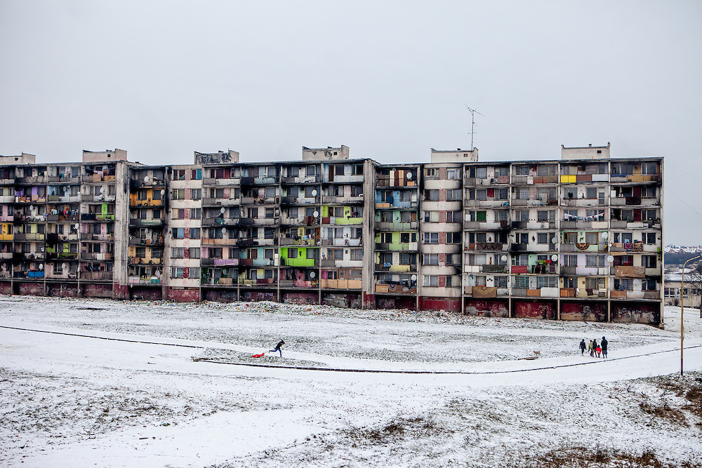 """The location where the decrepit highrise building """"Hrebenova 34-36"""" was standing (January 2016). The building was demolished by the city of Kosice in August 2014. The Lunik IX housing estate is home to the largest Roma community in Slovakia. It is located a few kilometers away from the historical city centre, on the outskirts of the eastern Slovakian city of Kosice. Since the beginning of the 1980s a large number of the Roma residents living in the city and in nearby settlements have been moved to Lunik IX. Lunik IX has officially 6542 registered (12/2015) inhabitants, almost all of them are of Roma ethnicity and about 2,563 inhabitants are children and teenagers."""