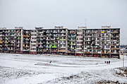 "The location where the decrepit highrise building ""Hrebenova 34-36"" was standing (January 2016). The building was demolished by the city of Kosice in August 2014. The Lunik IX housing estate is home to the largest Roma community in Slovakia. It is located a few kilometers away from the historical city centre, on the outskirts of the eastern Slovakian city of Kosice. Since the beginning of the 1980s a large number of the Roma residents living in the city and in nearby settlements have been moved to Lunik IX. Lunik IX has officially 6542 registered (12/2015) inhabitants, almost all of them are of Roma ethnicity and about 2,563 inhabitants are children and teenagers."