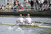 Henley, Great Britain.  Henley Royal Regatta. Leander Club, GBR, M2X, Matthew WELLS [bow], Marcus BATEMAN, [stroke], paddle past Stewards' Enclosure, on their way to the Start, for the Semi-Final, of the Double Sculls Challenge Cup. River Thames Henley Reach.  Royal Regatta. River Thames Henley Reach.  Saturday  02/07/2011  [Mandatory Credit  Intersport Images] . HRR