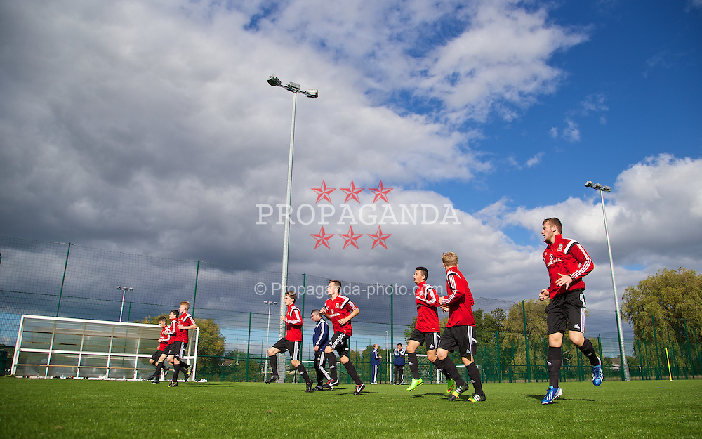 NEWPORT, WALES - Wednesday, September 24, 2014: Wales players training at Dragon Park ahead of the Under-16's International Friendly match against France. (Pic by David Rawcliffe/Propaganda)