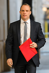 © Licensed to London News Pictures. 18/11/2018. London, UK.  Dominic Raab MP, former Brexit Secretary arrives at BBC Broadcasting House to appear on the Andrew Marr show.  Photo credit: Vickie Flores/LNP