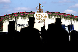 Racegoers arrive during day four of Royal Ascot at Ascot Racecourse.