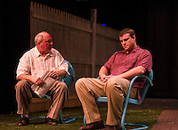 "Ray Dudley (Joe Keller) and David Bleiler (Chris Keller) during dress rehearsal for ""All My Sons"" at the Winnipesaukee Playhouse Wednesday evening.  (Karen Bobotas/for the Laconia Daily Sun)"