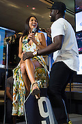 LAS VEGAS, NV - JULY 6:  Uriah Hall performs for Arianny Celeste during the UFC Lip Sync Challenge in Lagasse's Stadium at The Palazzo Las Vegas on July 6, 2016 in Las Vegas, Nevada. (Photo by Cooper Neill/Zuffa LLC/Zuffa LLC via Getty Images) *** Local Caption *** Uriah Hall; Arianny Celeste