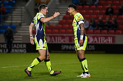 Denny Solomona of Sale Sharks celebrates after scoring a try - Mandatory by-line: Matt McNulty/JMP - 15/09/2017 - RUGBY - AJ Bell Stadium - Sale, England - Sale Sharks v London Irish - Aviva Premiership