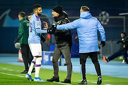 Riyad Mahrez of Manchester City receiving instructions from Pep Guardiola, head coach of Manchester City  during football match between GNK Dinamo Zagreb and Manchester City in 6th Round of UEFA Champions league 2019/20, on December 11, 2019 in Maksimir, Zagreb, Croatia. Photo by Blaž Weindorfer / Sportida