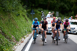The break begin the final climb during Stage 9 of 2019 Giro Rosa Iccrea, a 125.5 km road race from Gemona to Chiusaforte, Italy on July 13, 2019. Photo by Sean Robinson/velofocus.com