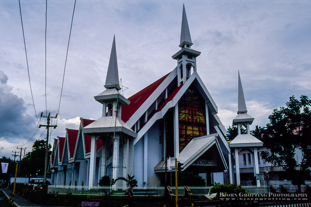 Indonesia, Sulawesi, Manado. One of the many churches in Manado. A majority of the people here are Christian.