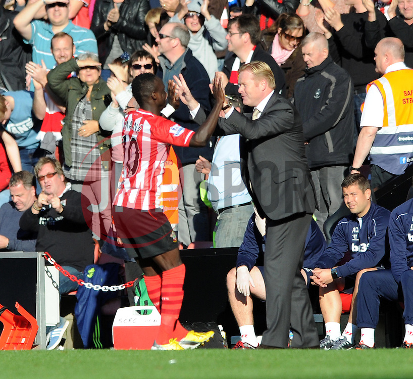 Southampton's Sadio Mane celebrates his goal with Southampton Manager, Ronald Koeman - Photo mandatory by-line: Dougie Allward/JMP - Mobile: 07966 386802 - 25/10/2014 - SPORT - Football - Southampton - ST Mary's Stadium - Southampton v Stoke - Barclays Premier League