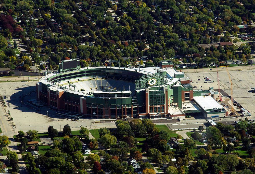 Lambeau Field in Green Bay, Wisconsin.  Lambeau Field is home to the National Football League team, Packers.  The photograph was taken from a small airplane during a fly over.