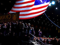 """Democratic presidential candidate Sen. Barack Obama talks to the crowd during his """"Stand For Change"""" rally with supporters inside the Reno Events Center."""