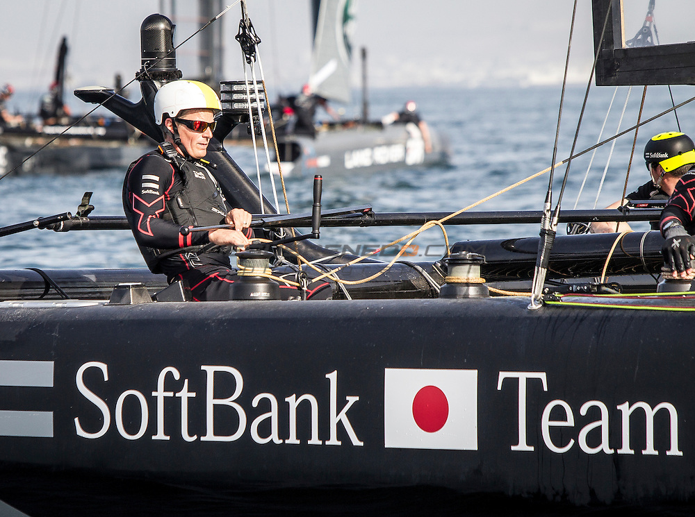 Louis Vuitton America's Cup World Series 2016 Oman.Soft Bank Japan,Dean Barker,Chris DraperFuku Sofuku,Derek Saward,Jeremy Lomas. Muscat ,The Sultanate of Oman.Image licensed to Jesus Renedo/Lloyd images/Oman Sail
