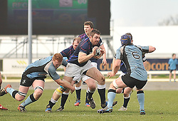 Westport's Liam Scahill takes on Galwegains pack.<br /> Pic Conor McKeown