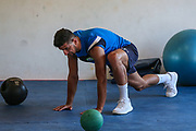 Forest Green Rovers Omar Bugiel(11) having a gym session during the Forest Green Rovers Training session at Browns Sport and Leisure Club, Vilamoura, Portugal on 24 July 2017. Photo by Shane Healey.