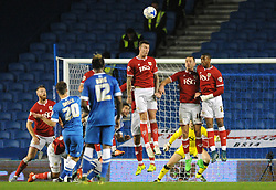 The Bristol City defence raise to block the free kick from Solly March of Brighton & Hove Albion - Mandatory byline: Dougie Allward/JMP - 07966 386802 - 20/10/2015 - FOOTBALL - American Express Community Stadium - Brighton, England - Brighton v Bristol City - Sky Bet Championship