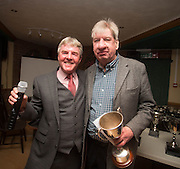 Eddie Ogg (president of the Belhaven Broughty Ferry Domino League) presents the League Cup to Eric Thomson of The Vault  -  Belhaven Broughty Ferry Domino League prizegiving at the Crown, Monifieth<br /> <br />  - &copy; David Young - www.davidyoungphoto.co.uk - email: davidyoungphoto@gmail.com