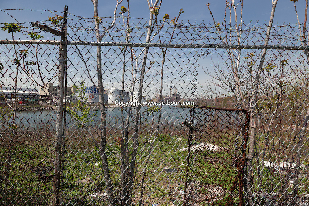 New York. Brooklyn. Bushwick inlet, heavily polluted area  on the east river   /  Bushwick , ilot tres pollue par les hydrocarbures et les metaux lourds au bord de l east river  Brooklyn, New York - Etats unis