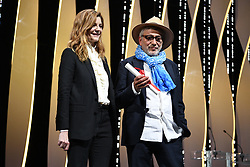 French actress Chiara Mastroianni and Palestinian film director and actor Elia Suleiman on May 25, 2019 with the Special Jury Prize during the closing ceremony of the 72nd edition of the Cannes Film Festival in Cannes, southern France. Photo by David Niviere/ABACAPRESS.COM