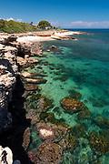 Les Rotes rocky beach near Sant Antonio cape, Denia, Alicante province, Costa Blanca, Spain
