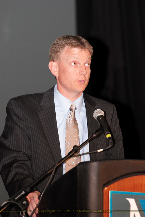 Kevin Bergman speaks during the Miami Valley Career Technology Center's Senior Recognition Ceremony at the Nutter Center, Friday, May 18, 2012.