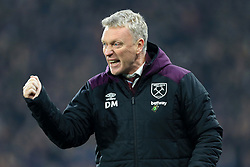 13th January 2018 - Premier League - Huddersfield Town v West Ham United - West Ham manager David Moyes celebrates their 4th goal - Photo: Simon Stacpoole / Offside.