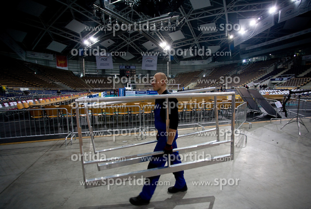 Worker in Arena Atlas after the press conference of the European Volleyball Confederation when the final four of the 2009/2010 CEV Indesit Champions League was canceled. With Poland being literally shocked after a plane having on board President Lech Kaczynski crashed this morning in Smolensk (Russia) causing dozens of casualties, certain sport events were canceled in this country, also the final four of the 2009/2010 CEV Indesit Champions League. Participating teams Trentino Volley (ITA), VC Dinamo Moscow (RUS), ACH Volley BLED (SLO) and PGE Skra Belchatow (POL) are going home, on April 10, 2010, Arena Atlas, Lodz, Poland.  (Photo by Vid Ponikvar / Sportida)