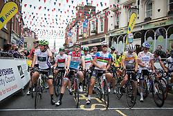 The jersey wearers line up at the start line before the Aviva Women's Tour 2016 - Stage 3. A 109.6 km road race from Ashbourne to Chesterfield, UK on June 17th 2016.