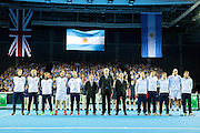 Great Britain and Argentina line up for the national anthems ahead of the Davis Cup Semi Final between Great Britain and Argentina at the Emirates Arena, Glasgow, United Kingdom on 16 September 2016. Photo by Craig Doyle.