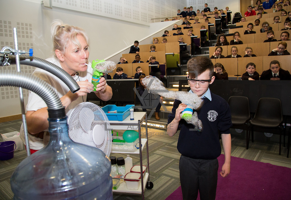 16.11.2016       <br />  The University of Limerick hosted a number of Science Activities during Limerick Festival of Science for local Schools as part of Science Week. <br /> <br /> Enjoying the Sue McGrath bubble show was Scott Murphy, Scoil Naomh Iosaf, Adare Co. Limerick. Picture: Alan Place