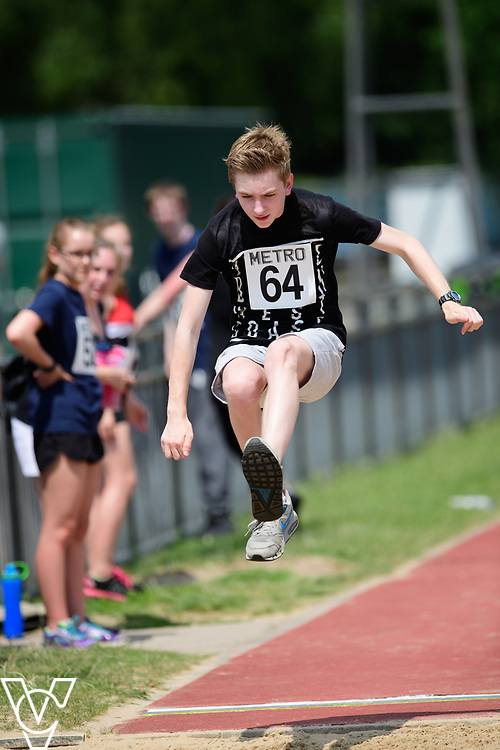 Metro Blind Sport's 2017 Athletics Open held at Mile End Stadium.  Long jump.  Sam Crowhurst <br /> <br /> Picture: Chris Vaughan Photography for Metro Blind Sport<br /> Date: June 17, 2017