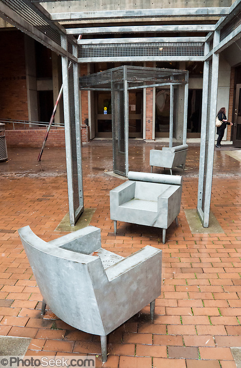 Concrete chair art in outside Meany Studio Theater, University of Washington, Seattle, Washington, USA