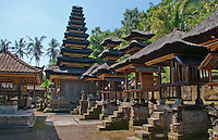 Altar houses and towers at Pura Kehen Temple near Bangli in Eastern Bali Indonesia