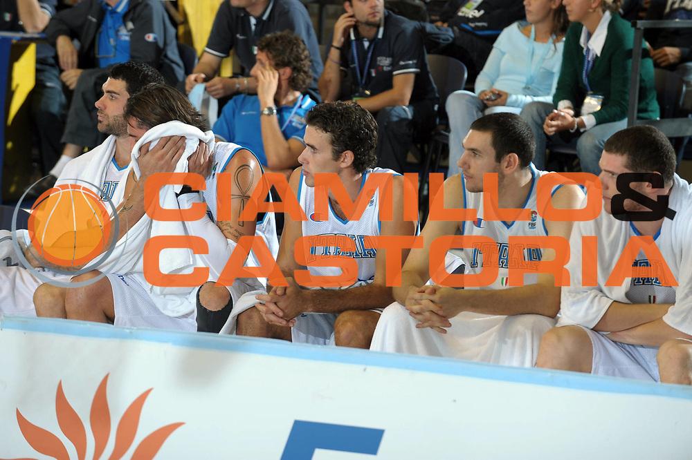 DESCRIZIONE : Torino Qualificazione Eurobasket 2009 Italia Bulgaria<br /> GIOCATORE : Team<br /> SQUADRA : Nazionale Italia Uomini<br /> EVENTO : Raduno Collegiale Nazionale Maschile <br /> GARA : Italia Bulgaria Italy Bulgaria<br /> DATA : 17/09/2008 <br /> CATEGORIA : Panchina<br /> SPORT : Pallacanestro <br /> AUTORE : Agenzia Ciamillo-Castoria/G. Ciamillo <br /> Galleria : Fip Nazionali 2008<br /> Fotonotizia : Torino Qualificazione Eurobasket 2009 Italia Bulgaria<br /> Predefinita :