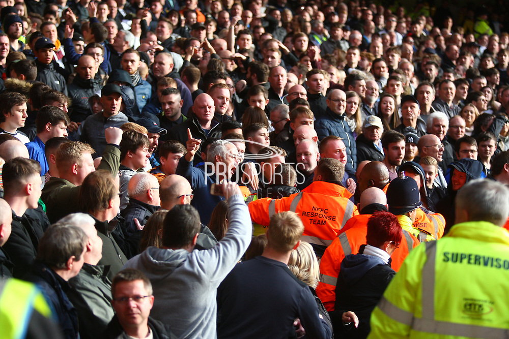 Trouble flared up in the Derby crowd after a fan threw a ball at a Forest player during the EFL Sky Bet Championship match between Nottingham Forest and Derby County at the City Ground, Nottingham, England on 11 March 2018. Picture by John Potts.
