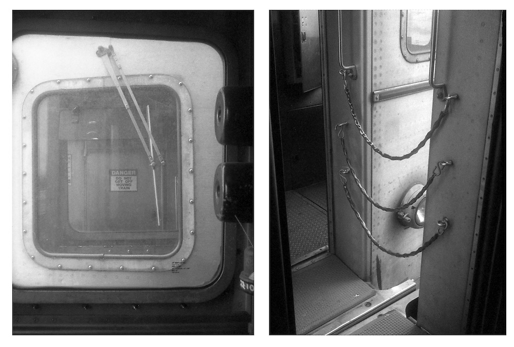 """The image on the left shows a cautionary sign which warns travelers """"DANGER DO NOT GET OFF MOVING TRAIN"""" while the image on the right show chains crossing the gap of a trains vestibule."""