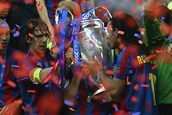 PARIS, FRANCE - WEDNESDAY, MAY 17th, 2006: FC Barcelona's Ronaldinho kisses the European Cup after beating Arsenal 2-1 during the UEFA Champions League Final at the Stade de France. (Pic by David Rawcliffe/Propaganda)