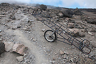 An emergency trolley sits on the side of the trail coming off the summit of Mount Kilimanjaro in Tanzania. The trolley's are used by teams of porters to take injured people down the mountain.