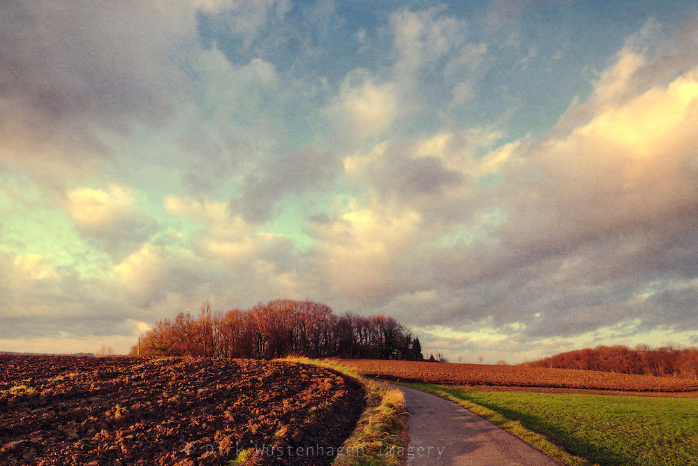 Rural landscape in evening light.<br /> Textured photograph