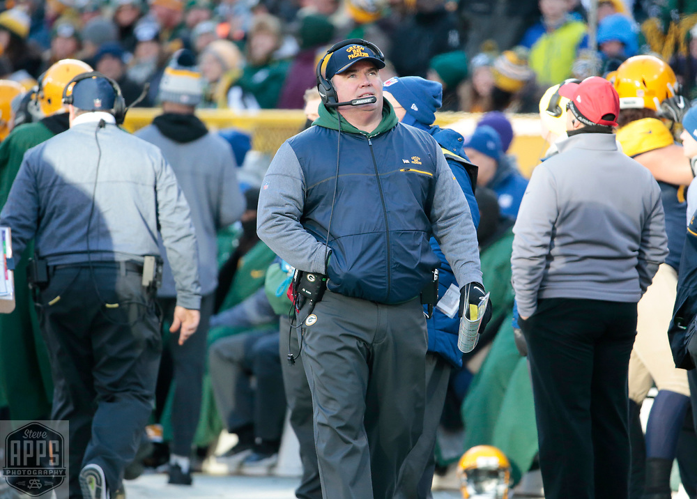 Green Bay coach Mike McCarthy after quarterback Brett Hundley fumbled in the 4th quarter. <br /> The Green Bay Packers hosted the Baltimore Ravens at Lambeau Field Sunday, Nov. 19, 2017. The Packers lost 23-0. STEVE APPS FOR THE STATE JOURNAL.