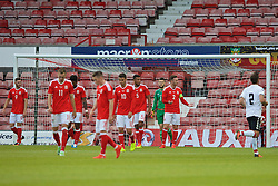 WREXHAM, WALES - Friday, September 2, 2016: Wales' players look dejected after conceding the opening goal against Denmark during the UEFA Under-21 Championship Qualifying Group 5 match at the Racecourse Ground. (Pic by Paul Greenwood/Propaganda)