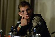 "MANCHESTER, ENGLAND, NOVEMBER 26, 2013: Luke Barnatt is pictured at the post-fight press conference for ""UFC Fight Night 30: Machida vs. Munoz"" inside Phones4U Arena in Manchester, England (© Martin McNeil)"