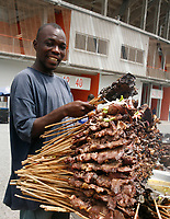 Photo: Steve Bond/Richard Lane Photography.<br /> Ghana v Nigeria. Africa Cup of Nations. 03/02/2008. Kebab seller - stadium catering, Accra stadium
