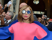 22.SEPTEMBER.2012 PARIS<br /> <br /> SINGER LADY GAGA IS SEEN LEAVING THE 'PARK HYATT PARIS VENDOME' HOTEL IN PARIS WEARING ANOTHER CRAZY MULTI-COLOURED OUTFIT AND CRAZY GLASSES.<br /> <br /> BYLINE: EDBIMAGEARCHIVE.COM<br /> <br /> *THIS IMAGE IS STRICTLY FOR UK NEWSPAPERS AND MAGAZINES ONLY*<br /> *FOR WORLD WIDE SALES AND WEB USE PLEASE CONTACT EDBIMAGEARCHIVE - 0208 954 5968*