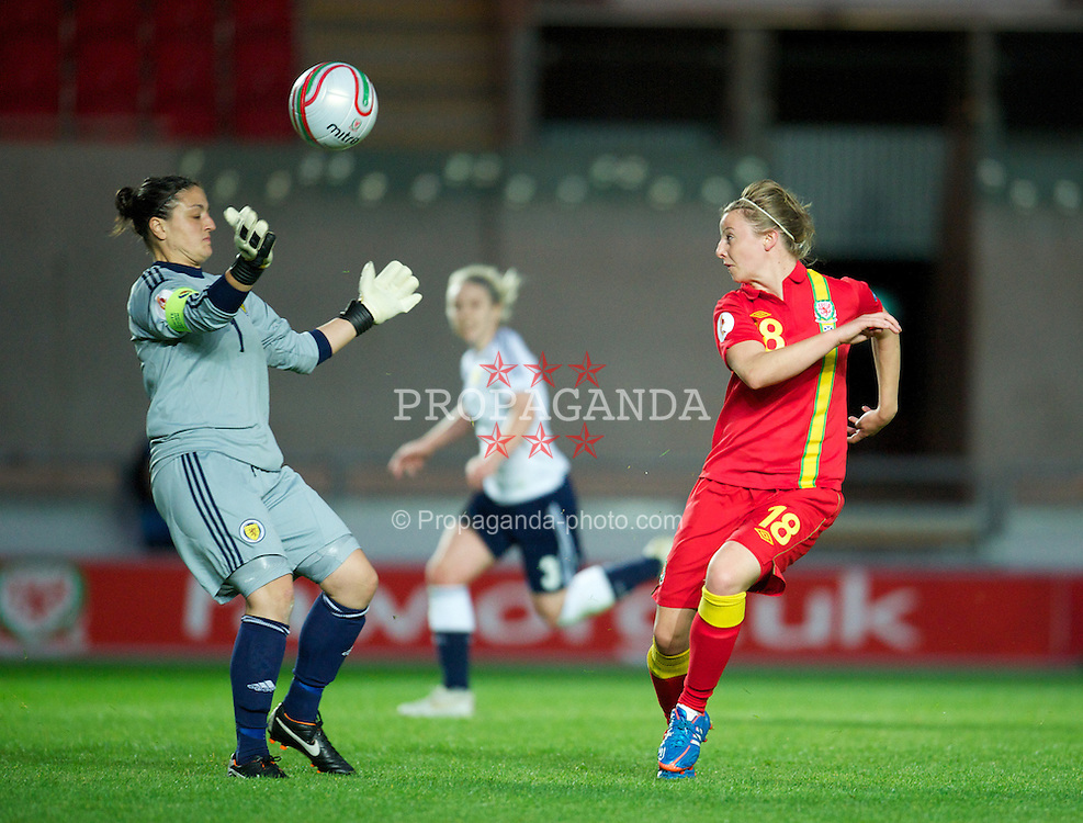 LLANELLI, WALES - Saturday, September 15, 2012: Wales' Hannah Keryakoplis is denied by Scotland's goalkeeper Gemma Fay during the UEFA Women's Euro 2013 Qualifying Group 4 match at Parc y Scarlets. (Pic by David Rawcliffe/Propaganda)