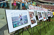 Warsaw, Poland - 2016 August 28: Photo Exhibition of Tomasz Majewski displays during athletics meeting Kamila Skolimowska Memorial 2016 at PGE National Stadium  August 28, 2016 w Warsaw, Poland.<br /> <br /> Adam Nurkiewicz declares that he has no rights to the image of people at the photographs of his authorship.<br /> <br /> Picture also available in RAW (NEF) or TIFF format on special request.<br /> <br /> Any editorial, commercial or promotional use requires written permission from the author of image.<br /> <br /> Mandatory credit:<br /> Photo by © Adam Nurkiewicz