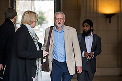 © Licensed to London News Pictures. 14/04/2016. London, UK. Leader of the Labour Party JEREMY CORBYN leaves, following a speech arguing the case for Britain remaining in Europe, at Senate House in London. The Uk is due to vote in and in out referendum in their membership of the EU on June 23rd, 2016.  Photo credit: Ben Cawthra/LNP