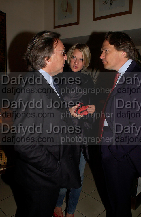 Diego della Valle, Lady Alexandra Gordon-Lennox and Lord March. Dinner at San Lorenzo, Beauchamp Place after Tod's hosts Book signing with Dante Ferretti celebrating the launch of 'Ferretti,- The art of production design' by Dante Ferretti. 19 April 2005.  ONE TIME USE ONLY - DO NOT ARCHIVE  © Copyright Photograph by Dafydd Jones 66 Stockwell Park Rd. London SW9 0DA Tel 020 7733 0108 www.dafjones.com