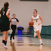 5th year guard Sara Hubenig (7) of the Regina Cougars during the Women's Basketball pre-season game on October 14 at Centre for Kinesiology, Health and Sport. Credit: Arthur Ward/Arthur Images